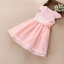 VF188 Hot sale Lace crochted birthday dress for girl of 7 years old
