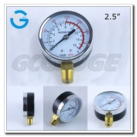 High quality 2.5 inch chrome plated case and bezel pressure gauge with bottom connection
