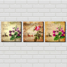 Canvas Painting Wall Art 3 Panel Framed Oil Paintings Nordic Style Deer and Flowers Picture for Living Room Decoration