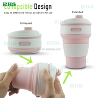 Silicone collapsable travel cup and foldable travel cup and Any color travel camping folding drinking coffee cup