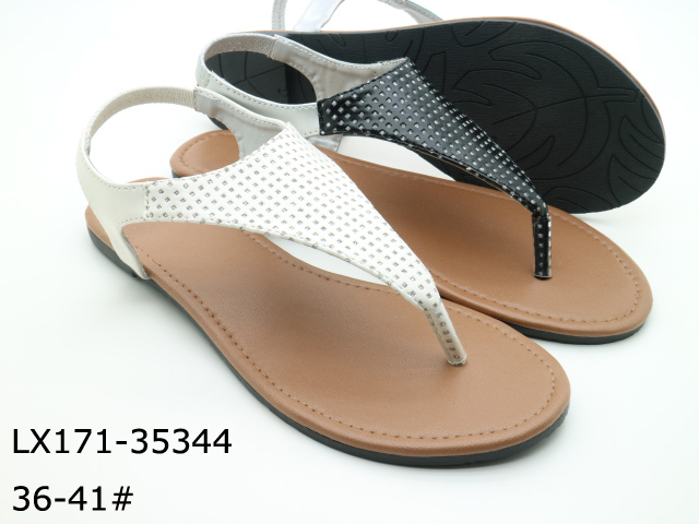 Elastic womens white and black leather flat sandals
