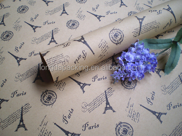 Hot Design Printed Eiffel Tower Pattern Gift Wrapping Paper Roll, Gift Wrapping, Roll wrap