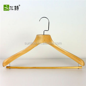low price high quality coat hanger natural color wooden hanger