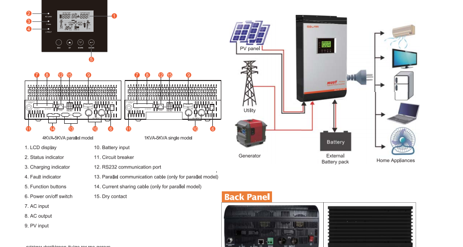 Must 60A MPPT Solar Charger Grid Tie Pure Sine Wave Hybrid Solar Power Inverter