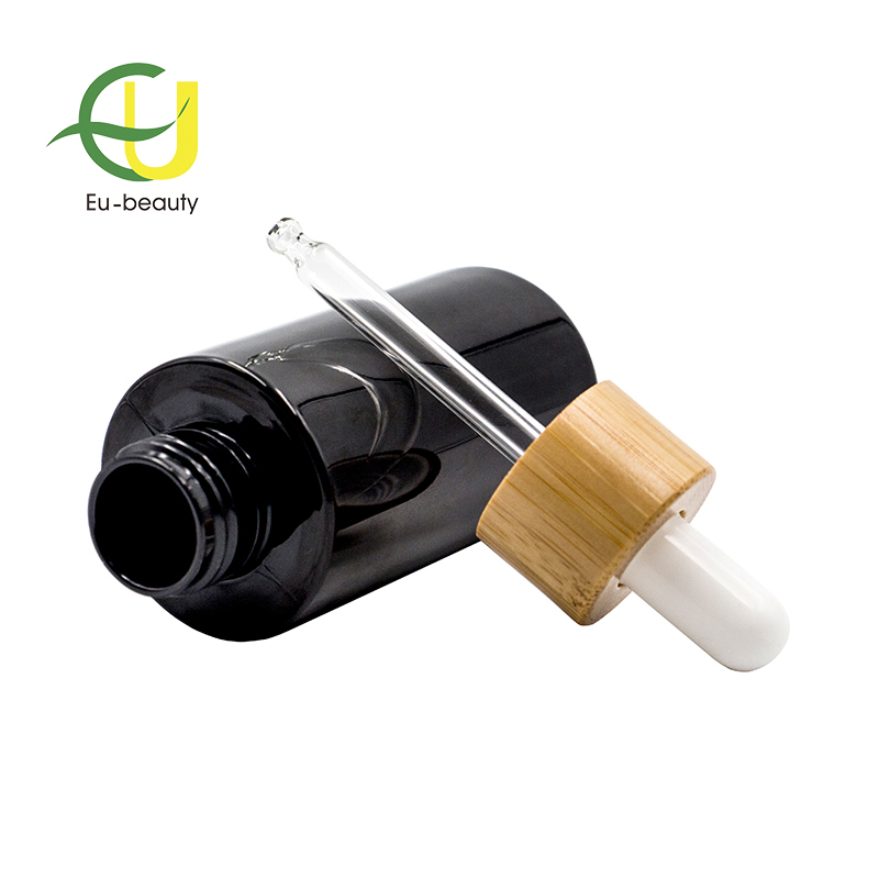 24/410 Bamboo Glass Dropper For Black PET Dropper