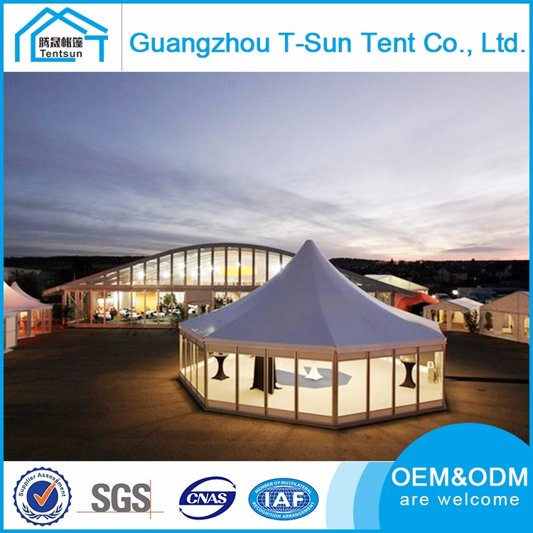 Multi Shape Design Galvanized Steel Solid Wall 15m Decagon Tents High Peak Hexagon Pagoda Tent
