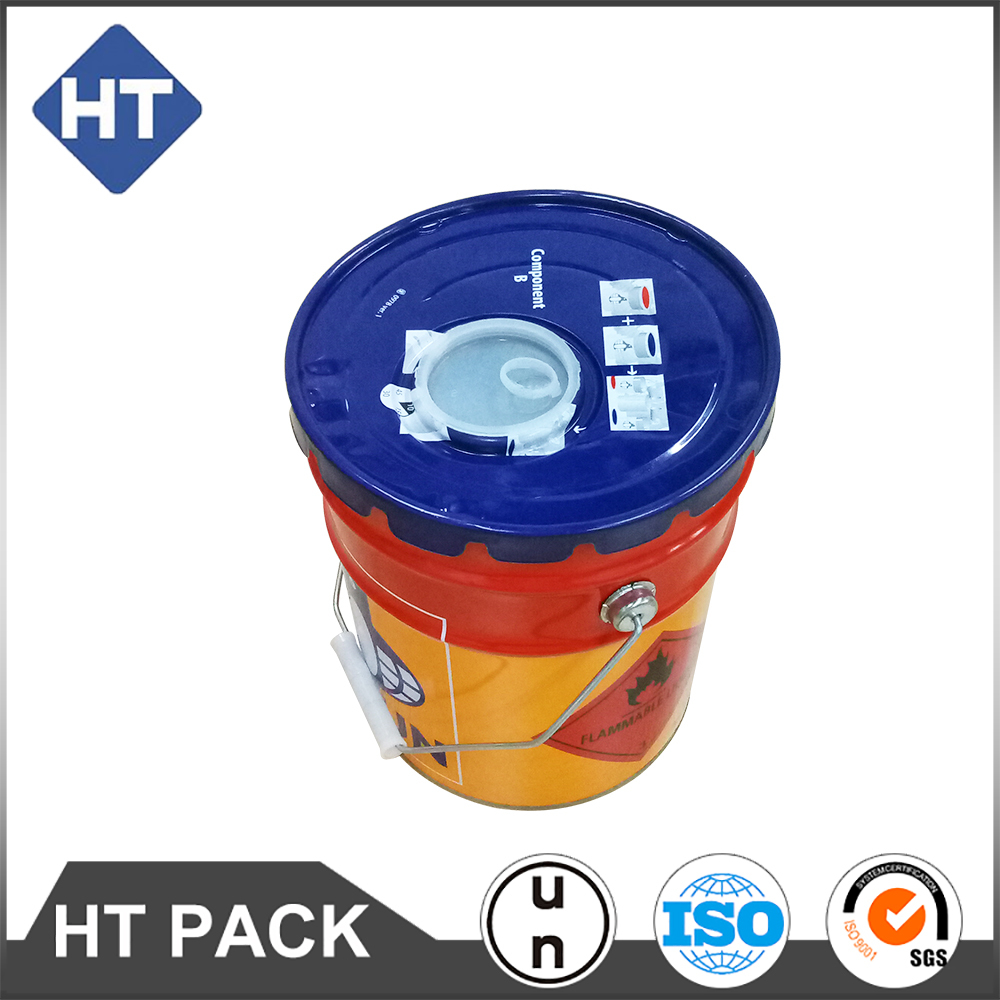 5 gallon export paint bucket, tin pail metal drum iron barrel packaging pail,with plastic spout and holes for spout