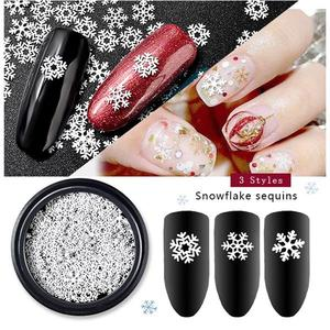 NEW 3 Styles Nail Art White Snowflake Flower White Slice Sequins Decoration DIY Christmas Manicure Accessories