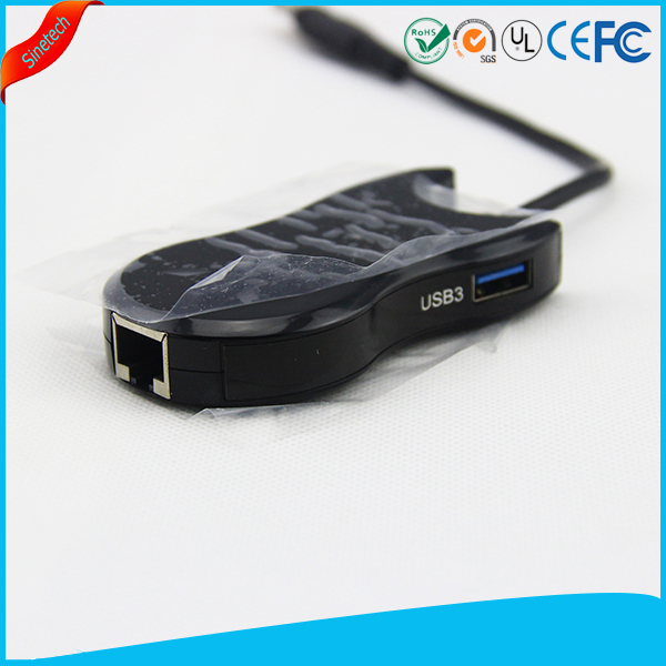 3-Ports USB 3.0 Hub LAN /RJ45 Ethernet Port Adapter Cable
