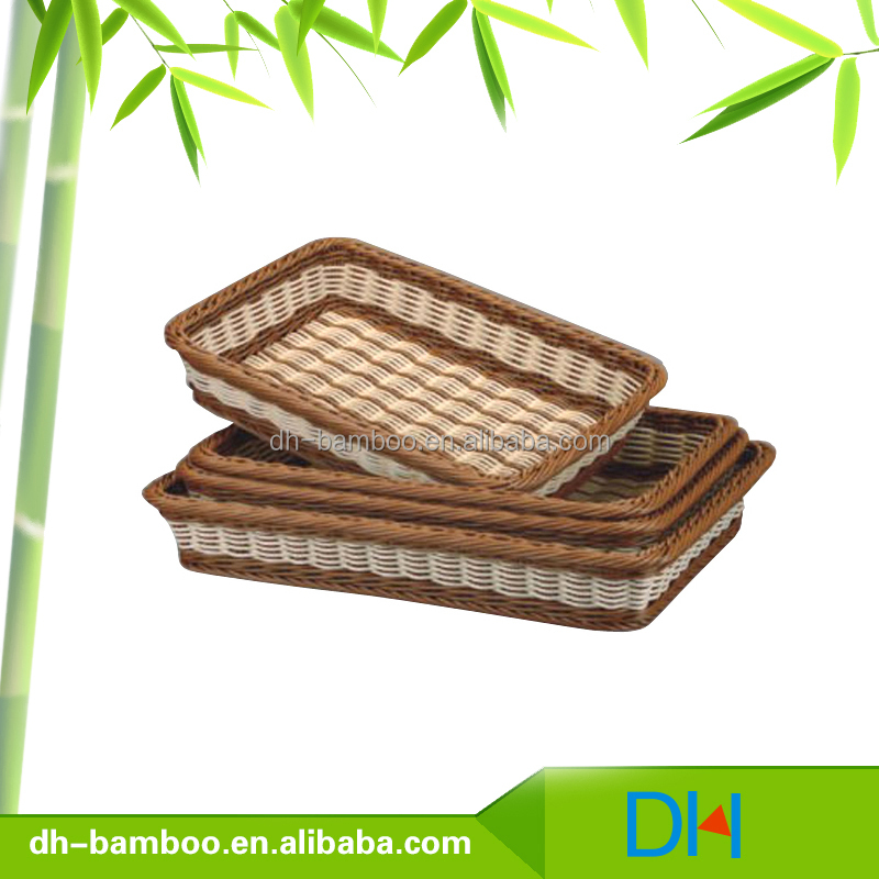 Cheap Woven Plastic Rattan Basket Storage Rattan Wicker Bread Basket with Square -shape