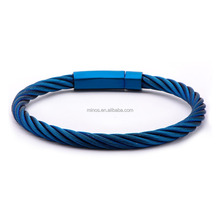 Men's Stainless Steel Extra Large Cable Bracelet with Matte Finished Blue IP Clasp