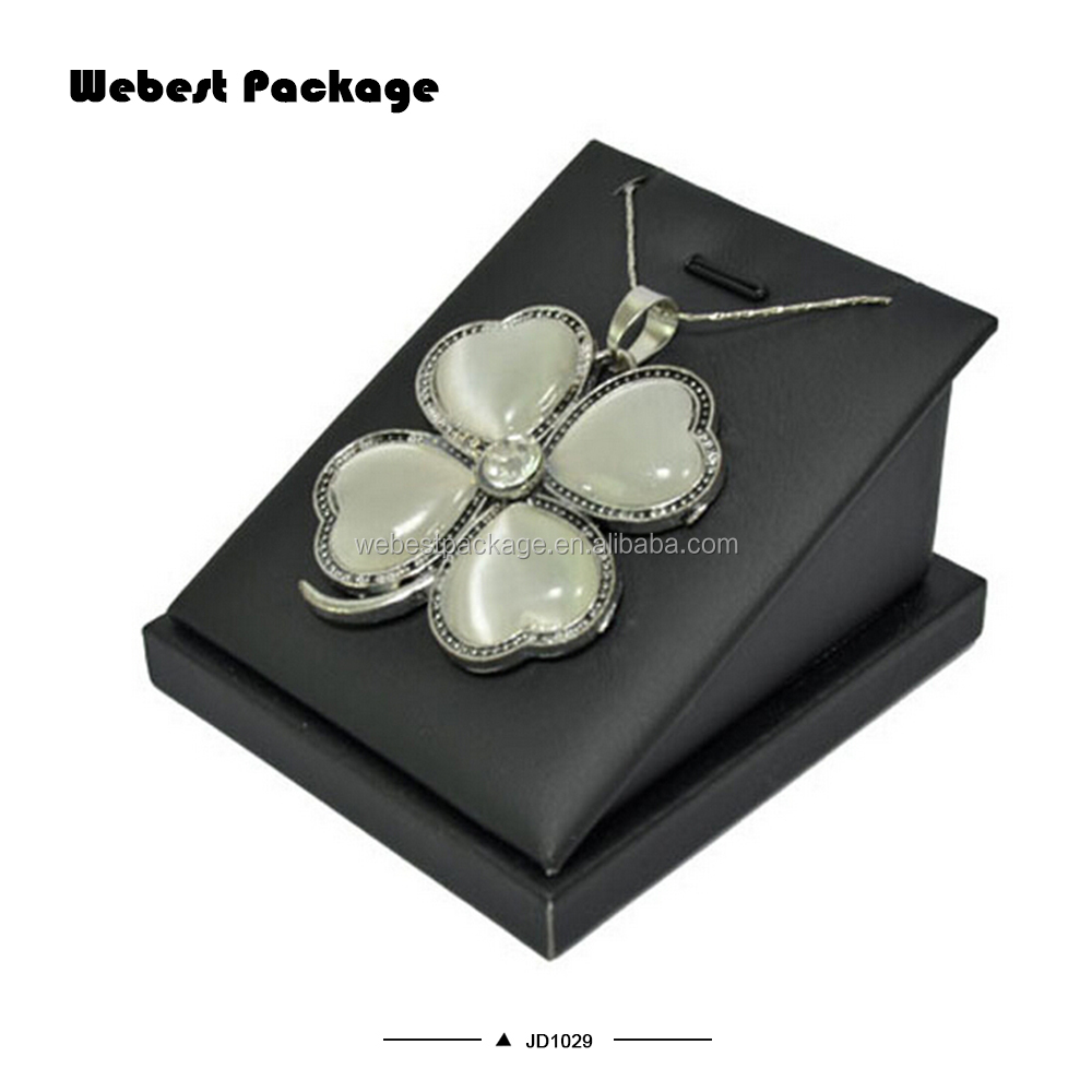 Webest package black Pu leather unique holder necklace pendant display jewelry display