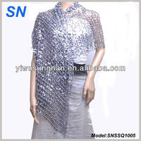 Elegant Silver Sequined Evening Wraps For