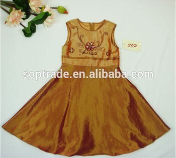 Taffeta beading flower frock for kid girls 2015 new style