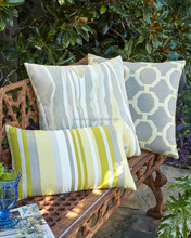 Custom outdoor wooden furniture chair back seat pillow cushions ,yellow stripe painting pillow