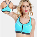 Hot sexy women front open zipper fitness yoga bra