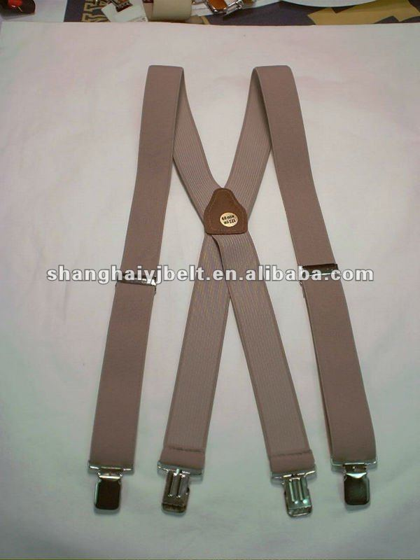 men's grey elastic suspenders ,canvas braces YJ-SP009