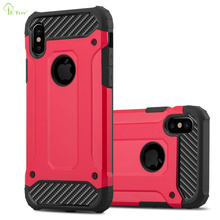 TPU+PC Combo carbon fiber Shockproof Armor phone case for iPhone X, rugged Shock proof protective cover case for iphone X