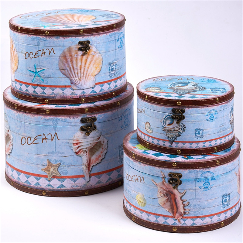 Custom wooden round cheap hat boxes wholesale with blue ocean deisgn