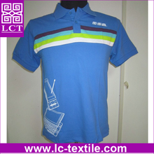 customized embroidery and printing 100% plain cotton CVC light sky blue color knit polo shirt with decorative stripes(LCTT0319)