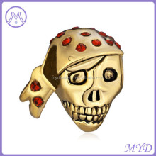 Large Hole Metal Gold Plated Halloween Skeleton Skull Wearing Crystal Scarf Spacer European Bead