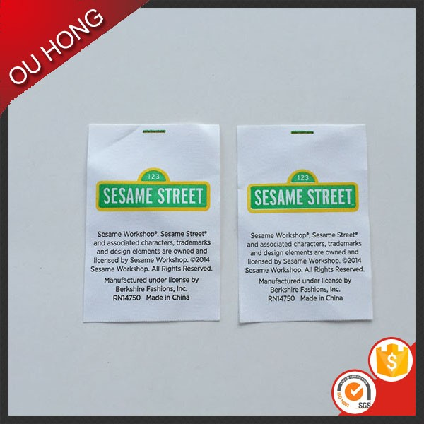 Wholesale New Design Polyester Satin Printed Custom Care wash Label for T-shirts