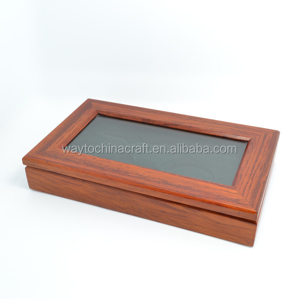 Luxury high end wood gift box, wooden box with glass top