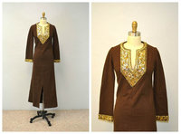Tunic dress maxi / chocolate brown wool with gold sequins vintage festival