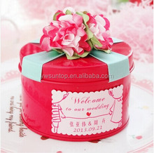 2015 top grade rose red round wedding favors tin gift box