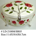 Fashion Rose Silver Enamel Metal Jewelry Box