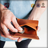 Tanned leather rfid blocking coin wallet for men