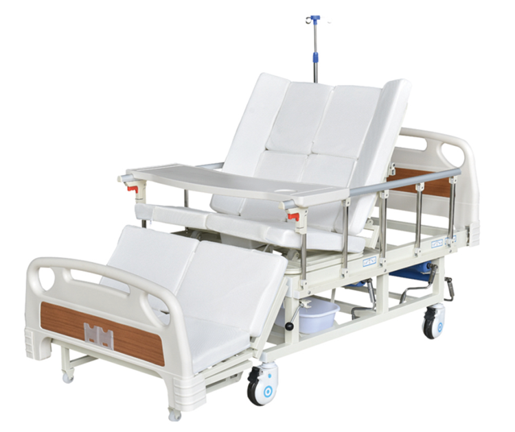 Adjustable electric treatment bed in hospital or home cart bed