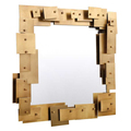 BISINI Upholstery Brass Luxurious Incredible  Home Decoration Irregularly Wall Mirror For Wall Hanging BF08-SJ100030