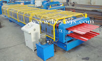 CE standard red steel profile roof roll forming machine