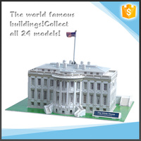 Intelligence blocks paper material 3D puzzle white house model toys