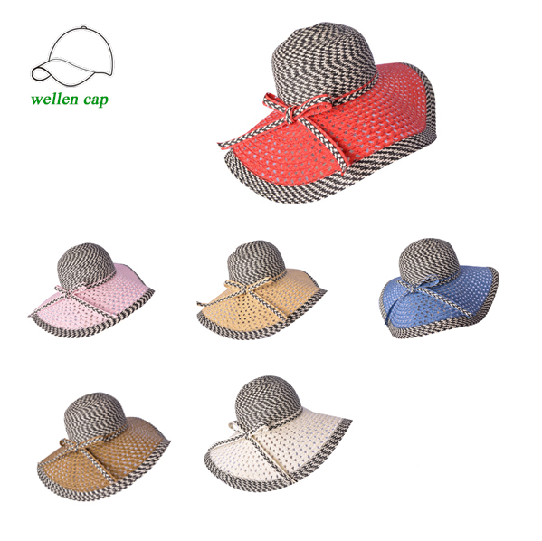 Wholesale lady handmade flower natural straw hat