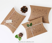 18.5x13.5x3.5cm Recycled Brown Kraft Paper Gift Box Wrapping Pillow Case Boxes for Scarf