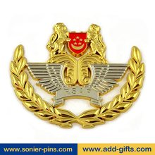 custom lions logo badge metal name airplane badge with safety pin