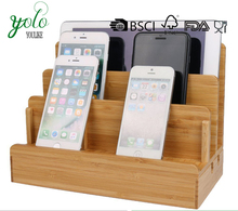 Multi-Device Charging Station Bamboo Wood Desk Stand Charger Docking Organizer