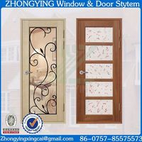 Whole glass design office type interior swinging double pvc doors