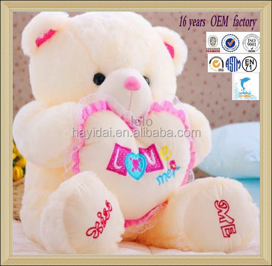 Top selling valentines day gift wholesale colorful plush teddy bear with varity size