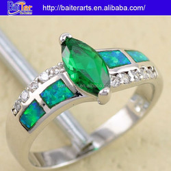 Anniversary Best Gift 925 Sterling Silver Marquise Cut Emerald And Diamond Engagement Rings