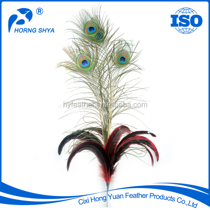 E-25 Peacock Coque Tail Feather Stem Decorative Feathers For Hats