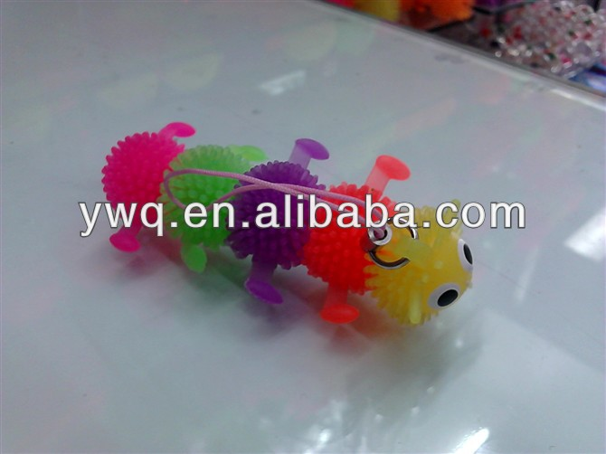 worm puffer ball flashing spiky ball soft toy orbit ball toys