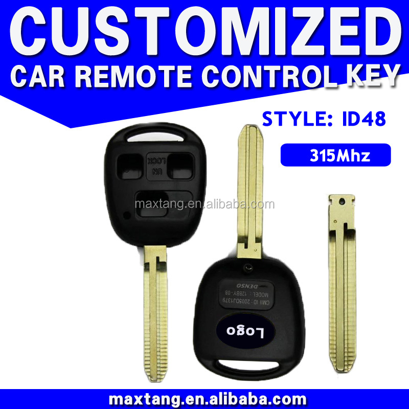 Car Replacement Remote Emergency Key Insert Fob Uncut Blade 3 Button For Toyota Hot Sale ID48 315MHz MTF-100709