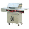Outdoor Stainless Steel LP Gas BBQ Grill With Hood and Temperature Display