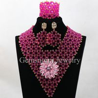 2016 fashion unique design pink crystal beads jewelry set african nigerian wedding beads costume jewelry catalog for women