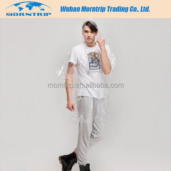Best selling new design disposable PE rain poncho for men