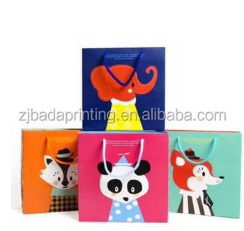 Hot Sale Cartoon Animal Gift Bags/Paper Bag With Handle/Customized Paper Bag For Gift