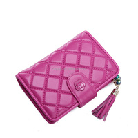 Women pink purple leather wallets in dubai wholesale from China leather factory